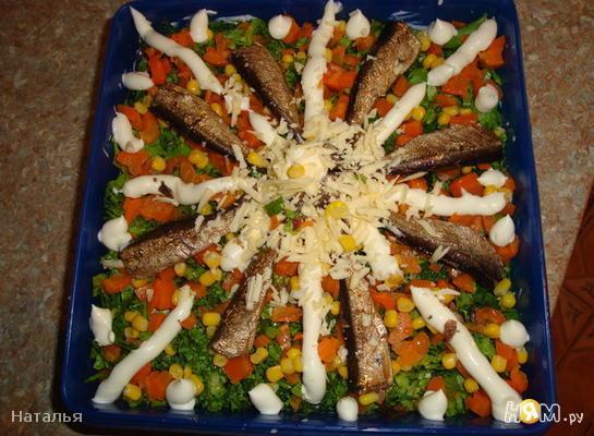 Рецепт Салат со шпротами и кукурузой