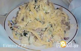 Салат из жареных грибов с огурцом