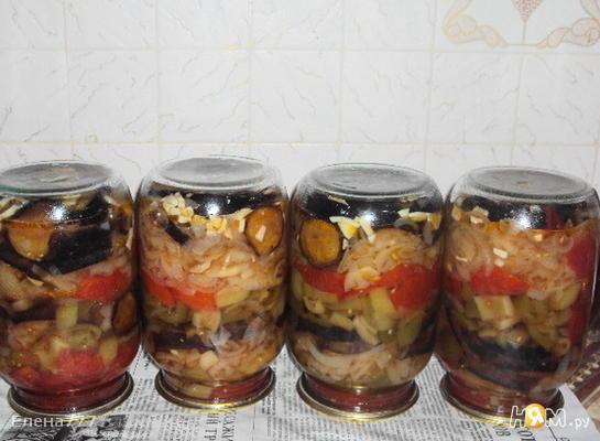 Слоёный салат с баклажанами