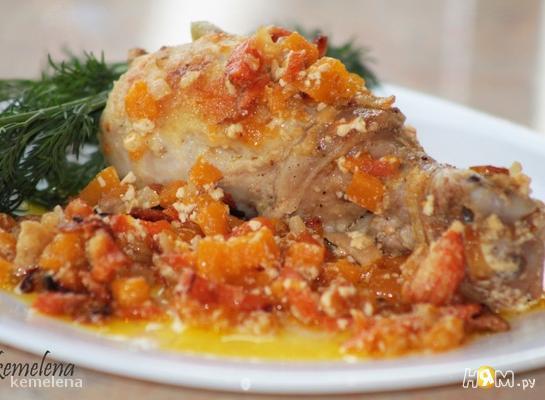 Курица в сливках с тыквой и морковью