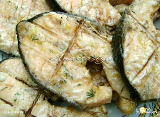 Сёмга в оливково-лимонном маринаде на барбекю