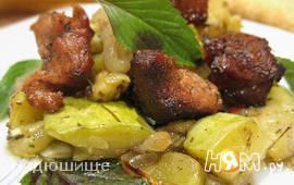 Печеные кабачки с мясом и травами