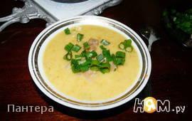 Суп-пюре картофельный с копченным кальмаром