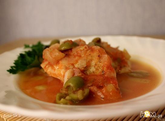Рецепт Треска в остром томатном соусе