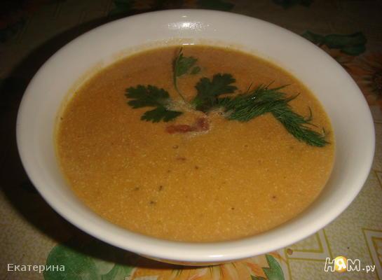 Суп-пюре из тыквы и морепродуктов