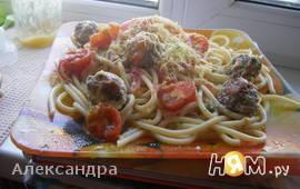 Паста с фрикадельками в сливочно-томатном соусе
