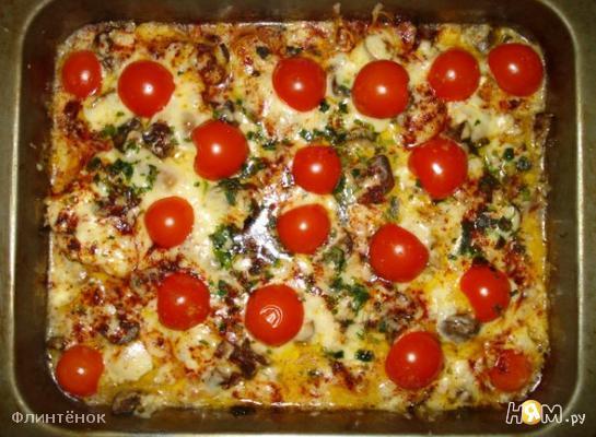 Рецепт Куриная грудка с грибами, сыром и сливками