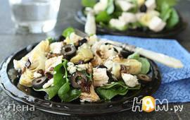 Салат из курицы и шпината