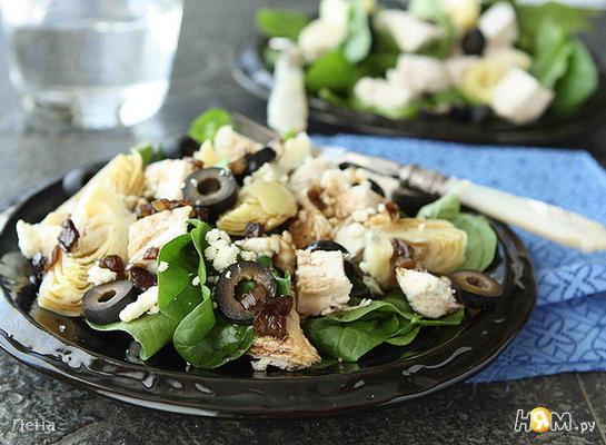 Рецепт Салат из курицы и шпината