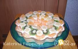 Фруктовый торт со сливочным кремом