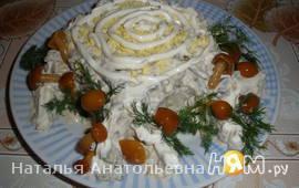 """Салат """"Пенёк"""" с печенью"""