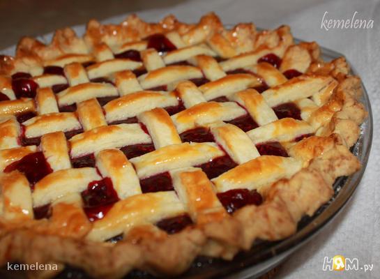 Пирог-решетка с малиной