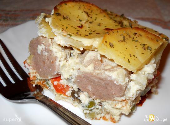 Запеканка картофельная с фрикадельками
