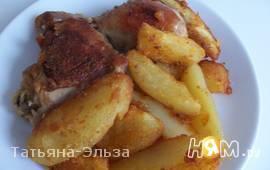 Куриные ножки жареные с картофелем