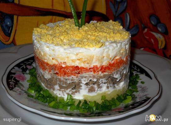 слоёные салаты рецепты с печенью