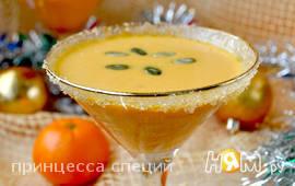 Суп-крем  с тыквой, мандаринами и имбирём
