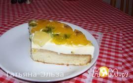 Торт- желе со сливочным суфле и фруктами