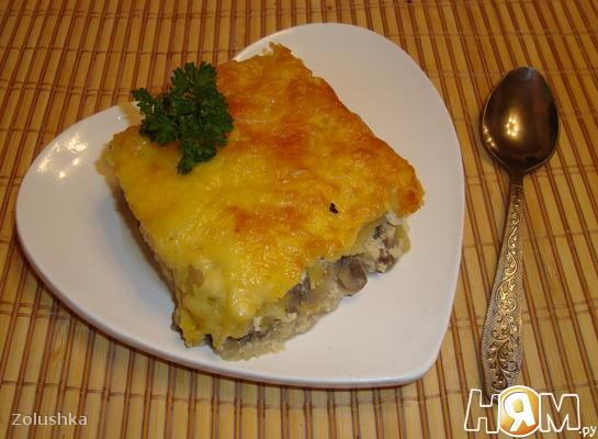 Рецепт Тыквенно-картофельная запеканка с грибами