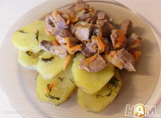 Говяжья печень с картофелем в мультиварке