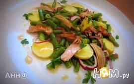 Салат из спаржевой фасоли под соусом винегрет