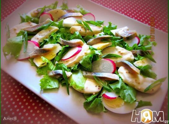 Салат с сельдью и редисом