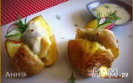 Печёный картофель с сельдью в горчичном соусе
