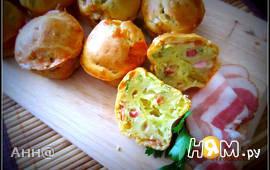 Сырные кексы с ветчиной и зеленью
