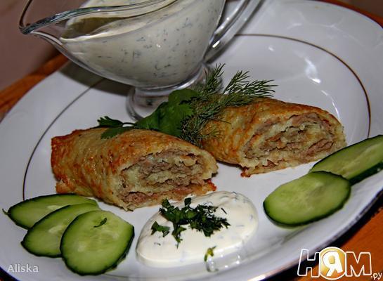 Картофельные блины с фаршем Старый Фритц