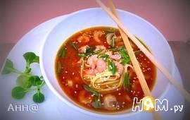 Мисо суп с креветками и лапшой удон
