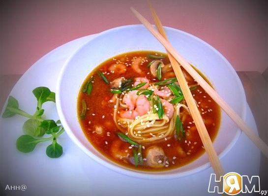 Рецепт Мисо суп с креветками и лапшой удон