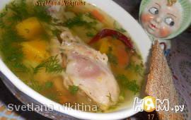 Куриный суп с тыквой и цветной капустой