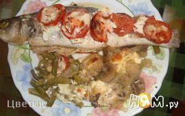 Сибас запечённый с овощами