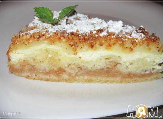 Рецепт Творожно-яблочный насыпной пирог