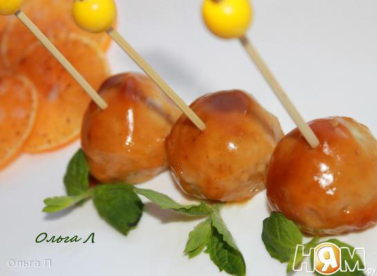 Куриные фрикадельки в острой апельсиновой глазури