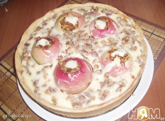 Рецепт Творожный пирог с фаршированными яблоками