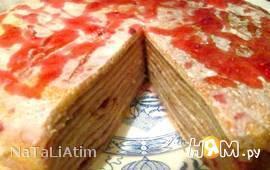 Блинный торт сметанно-малиновый