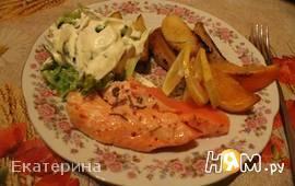 Семга,запеченная с овощами и цитрусовыми