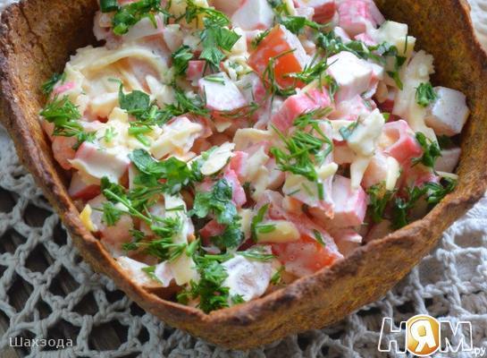 """Хлебная тарталетка с салатом """"Лито"""""""