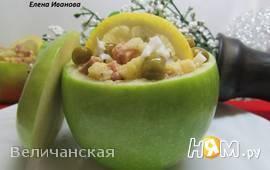 Салат из печени трески с яблоком