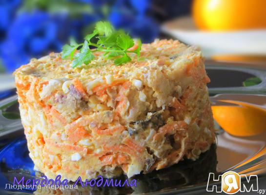 Салат с отварной рыбой