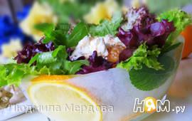 """""""Зимний цитрусовый салат"""" в ледяной вазе"""