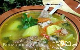 Суп из бараньих рёбрышек с чечевицей