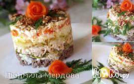 """Слоеный салат из говядины с курицей """"Светлана"""""""