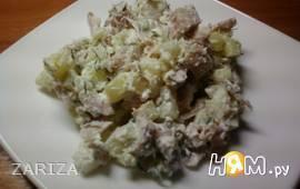 Салат из копченой курицы с картофелем