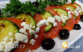 Салат с цуккини , помидорами и фетой