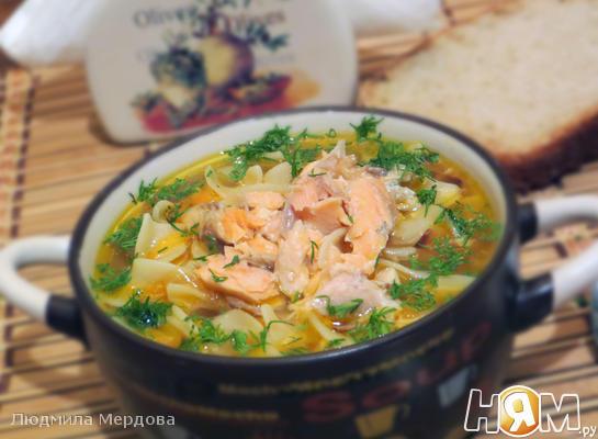 Суп-лапша с форелью