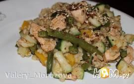 Овощное рагу с куриным филе и булгуром