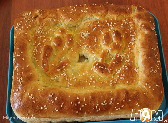 Пирог с семгой и картофелем