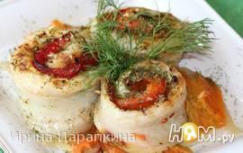 Рулетики из морского языка с болгарским перцем