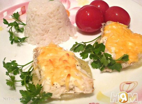 Рецепт Камбала, запеченная с ананасом